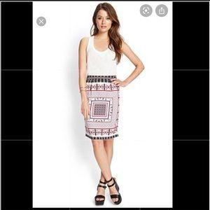 Forever 21 Boho Paisley Pencil Skirt